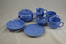 Edwardian Arts and Crafts BARON BARNSTABLE blue teaset with monogram pottery