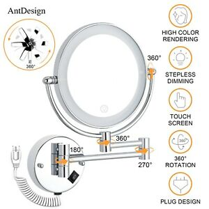 Wall Mounted Makeup Mirror with 1X/5x Magnifying Lighted Vanity Mirror LED
