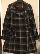 1c76debeb9f Merona Women s Trench Coat Water Resistant Black Gray Plaid Buttons Belted