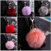 Charm Rabbit Fur Fluffy Pompom Ball Handbag Car Pendant  Key Chain Keyrings