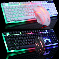 LED Glowing Computer Desktop Wired Mechanical Keyboard And Mouse Game Suite USB