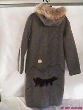 Vtg Hudsons Bay ~ Inuvik Coat Wool & Fur Jacket Inuit Parka Wolf Design Sm ~ Med