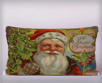 Vintage Santa Christmas Long Cushion Covers Pillow Cases Home Decor or Inner
