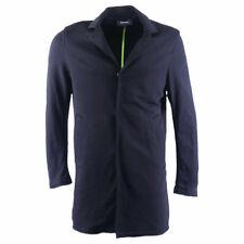 DIESEL J Orde Mens Trench Coat Cotton Winter Outwear Casual Long Black Jacket