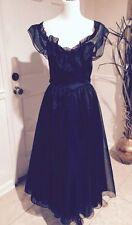Dead Bride Woman In Black Vintage Gunne Sax Gothic Black Gown Steampunk