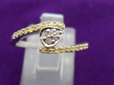 Genuine Natural Yellow Diamond Ring with White Diamond Sterling Silver 0.17ct