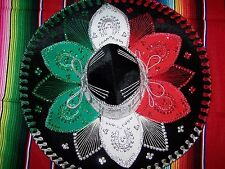 Sombrero Black Red Green Hat Made Mexico New Mexican Party Costume Fancy Dress