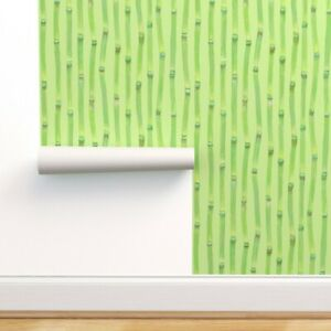 Removable Water-Activated Wallpaper Soft Green Prehistoric Plants Bamboo