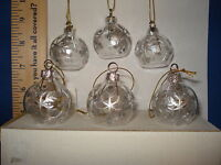Snowflake Ornament Set of 6 Clear Glass Balls 76590 238