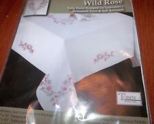 """Tobin Stamped Embroidery WILD ROSE 15"""" x 44"""" Table Runner Dresser Scarf"""