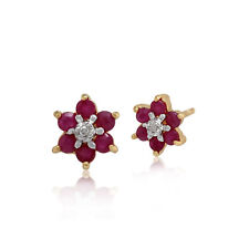 9ct Yellow Gold 0.45ct Ruby & Diamond Floral Cluster Stud Earrings
