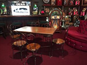 """Early 1900s Wood Ice Cream Parlor Diner Table & 6 Chair Set """" Watch Video"""""""
