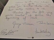 FAN CLUB Letter Autographed by 4 BEATLES Paul McCartney Vintage Liverpool Music