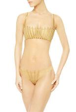 La Perla Graphique Couture Collection 36B M Strapless Bra Tanga Set Gold New