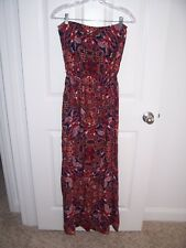 Ladies Navy/Red Strapless Maxi Dress - Size Large - Excellent Condition