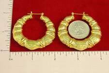 "MADE IN USA - Gold Plated Thick Bamboo ~1-7/8"" Hoops (#1124)"