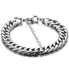 "8.7"" Fashion Silver-Tone Men's Boy's Stainless Steel Curb Chain Bracelet*10MM"