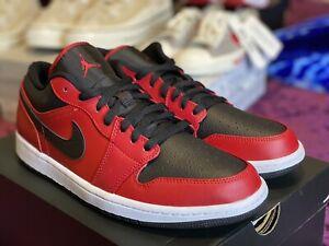 🔥🔥NIKE Air Jordan 1 Low 'Reverse Bred' Red/Black (553558-605) Men's Sz 11🔥🔥