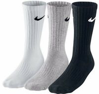 Nike Socks Mens Socks Cotton Crew Black Grey White 3 Pairs 1 Pack Sports Running