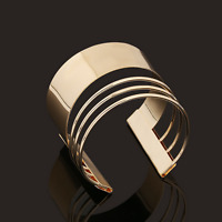 Retro Women Gold Four Layers Punk Open Cuff Bangle Wide Bracelet Fashion Jewelry