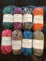 4 x 100g Siirdar 100% Cotton Print Double Knit Wool/Yarn for Knitting/Crochet
