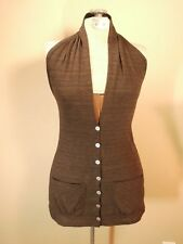 New Women Clothing Girl Top Fashion Button Dip Style Cool Russe Open Back Brown