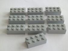 Lego 3001# 10x Basic 2x4 hoch Platten Plättchen in grau neu hellgrau