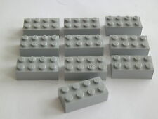Lego 3001# 10x Basic 2x4 alto placas plaquitas en gris nuevo gris claro