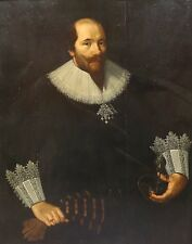 Fine Huge 16th Century Dutch Old Master Portrait Sword Gentleman Oil Painting