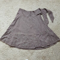 AB/27 Ladies NEXT A-line Skirt Brown Cotton Floral Folk Embroidered Size 10 VGC