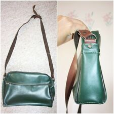 VTG Leather Cross Body Bag Messanger Medium Green Weekend Long Strap Work 1970s