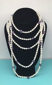 Vintage Freshwater Pearl & Amethyst Multi Strand Necklace