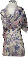 Schal mit Schmucksteinen scarf 100%Wolle wool handbestickt embroidered lila rosa