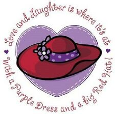 """RED HAT """"Love & Laughter"""" on ONE 16 inch square FABRIC Panel to Sew. SALE!!"""