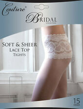 Couture Bridal Collection Soft & Sheer LACE TOP Tights 15 Denier Ivory or White