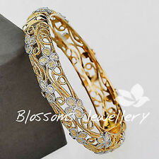 Hand Made 2 Tone GOLD GF FOUR LEAF CLOVER Filigree BANGLE Bracelet Ladies S622