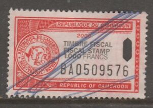 Africa France Cameroun revenue fiscal stamp 2-22-21-1d used as seen