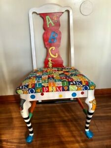 Rejuvenated Wood Chair, reupholstered and Hand Painted