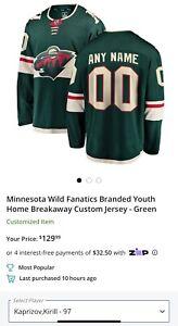 NEW!! Kirill Kaprizov-97 Minnesota Wild Fanatics Breakaway Jersey Youth L/XL