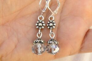 ALTERED Brighton Silver & Blue Crystal Charm On Lever Back Earrings