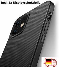 iPhone XS X 6 7 11 / 12 Pro Hülle Schutzhülle TPU Silikon Slim Case Carbon Optik