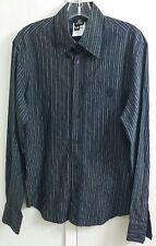 Vintage Gianni Versace 90's Black Silver Stripe Cotton Shirt Men's Size S EUR S