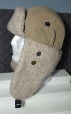 Men's Country Gentleman Tan Fleece Trapper Flap Hat Cap Snap Button Ears M