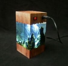 Lamp handcrafted decor home wood cubes night lights gift for family
