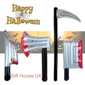 Halloween Weapon Inflatable Knife Cleaver Axe Scythe Fork Bloody Horror Props