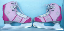 Ccm Girls Size 4 Pink Floral Figure Ice Skates; Acro Blades & Cloth Blade Guards