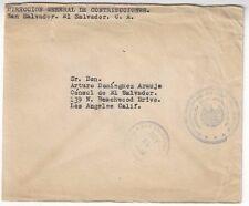 1938 San Salvador El Salvador, Official Mail to Los Angeles CA