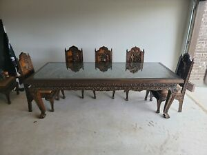 Hand-carved Antique Dining Set - Large table, glass insert, 8 chairs and cushion