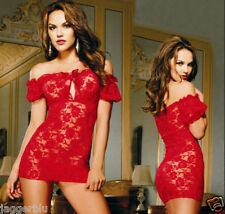 LADIEs WOMENs SEXY RED LACE LINGERIE NIGHTWEAR BODY & G-STRING BABYDOLL LOOK.***