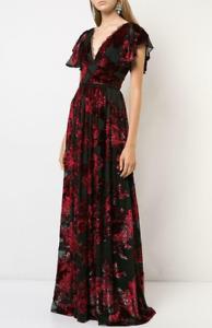NEW Marchesa Notte V Neck Velvet Burnout Lace Trim Gown Black Red Dress